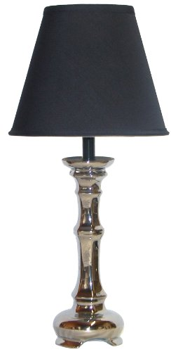 Table Lamp Black Column (A Ray Of Light SB62946 Glossy Silver Column Table Lamp with a Black Empire Lamp Shade)