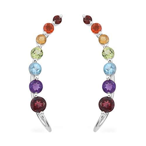 Garnet Platinum Over 925 Sterling Silver Ear Crawler Climber Jackets Wrap Cuffs Earrings for Women Jewelry Cttw 2.8