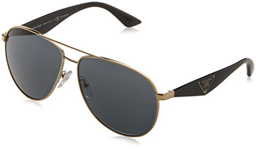 Prada Women PR 53QS 60 Gold/Grey Sunglasses - Womens Sunglasses Prada Aviator