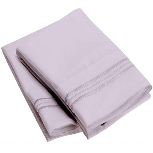 Mellanni Luxury Pillowcase Set Brushed Microfiber 1800 Bedding - Wrinkle, Fade, Stain Resistant - Hypoallergenic (Set of 2 Standard Size, Lavender)