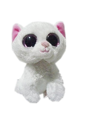 6'' Ty Beanie Boos White Cat Glitter Solid Pink Eyes Toy Plush Stuffed Animals by unbrand