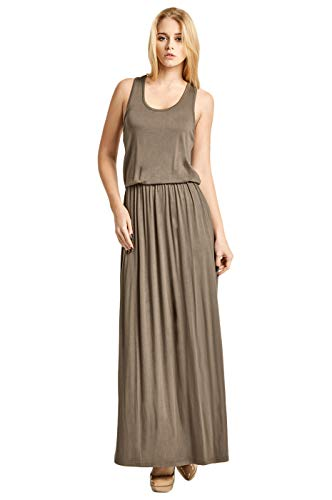 Women's Classic Bloused Bodice Maxi Dress (L, Taupe)