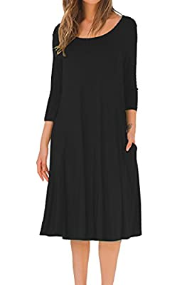 MOLERANI Women's A-line Swing Flare Midi Dress 3 4 Sleeve Splice Pocket Casual Long Dresses