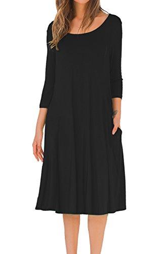 e8de2f0a41 MOLERANI Women's A-line Swing Flare Midi Dress 3 4 Sleeve Splice Pocket  Casual Long Dresses