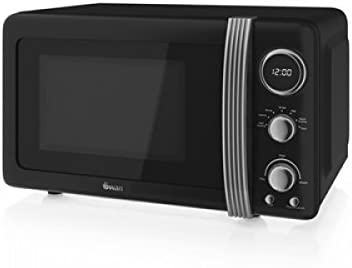 Swan Retro Black Digital Microwave
