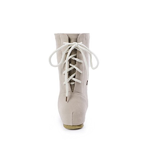 Low Heels Low Lace Women's Solid Imitated AgooLar Suede Top Boots up Beige qRHBxxwa