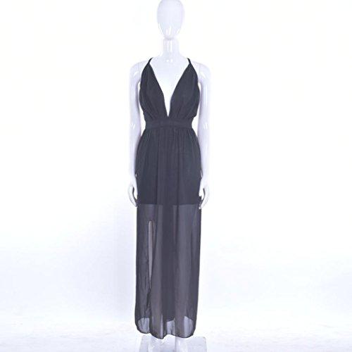 Vestido, Rcool Mujeres Verano Gasa sin mangas Boho Long Maxi Evening Party Beach Dress Negro