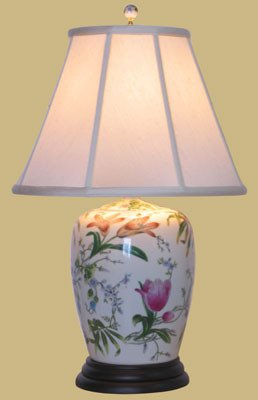 25 Porcelain Lily Ginger Jar Lamp Table Lamps Amazoncom
