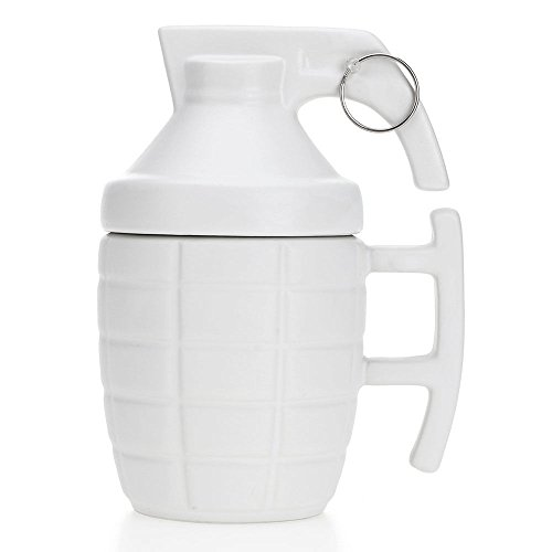 White 3d Army Dummy Grenade Mug Coffee Tea Cup Funny Gift Unique Design With Lids And Metal - Glasses Las Reading Vegas