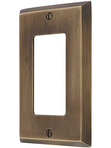 Forged Brass Single - Traditional Forged Brass Single GFI Cover Plate in Antique-by-Hand