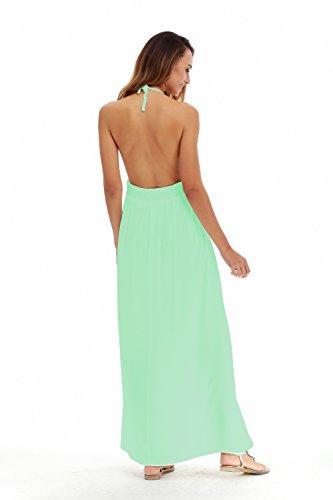 Beach Halter Backless Light Crochet Long LILBETTER Green Bohemian Dress Women's Maxi 7xqnOnAgw
