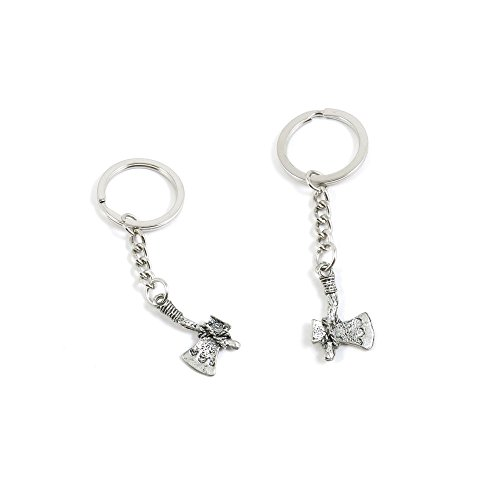 10 PCS Axe Hatchet Keychain Keyring Jewelry Making Charms Door Car Key Tag Chain Ring Y4AB1N