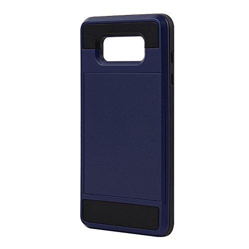 Telefon-Kasten - TOOGOO(R)Karte Tasche Stossfeste Duenne Hybrid Mappe Abdeckung fuer Samsung Galaxy A7 Marine Blau