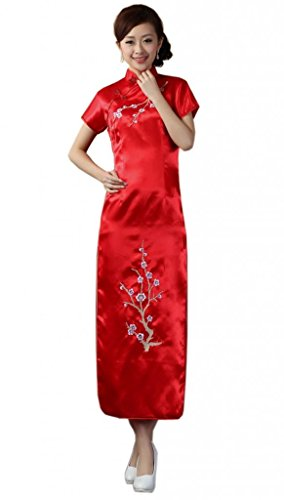 JTC Women's Flower Embroidered Chinese Long Qipao Dresses 5 Colors (XL, Red) by Jtc (Image #1)