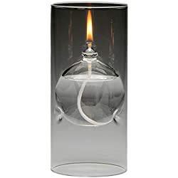 The Modern Transcend Clear Glass Oil Lamp is a Unique Gift for Her. The Bliss Oil Candle Appears to be Floating in the Hurricane Candle Holder.