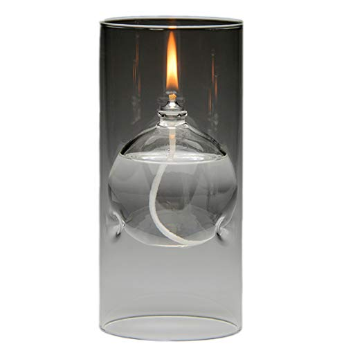Gorgeous Glass Glass Table Lamp - The Modern Transcend Clear Glass Oil Lamp is a Unique Gift for Her. The Bliss Oil Candle Appears to be Floating in The Hurricane Candle Holder.