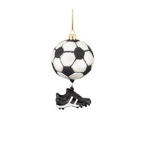 Noble Gems Kurt Adler 3-1/2-Inch Glass Soccer Ball with Shoe Dangle Ornament -