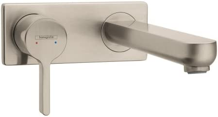 hansgrohe Metris S Modern Timeless Easy Install 1-Handle 2 5-inch Tall Bathroom Sink Faucet in Brushed Nickel, 31163821