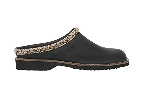 Simple Women's Hallie Mule, Black Leather, 10 M US