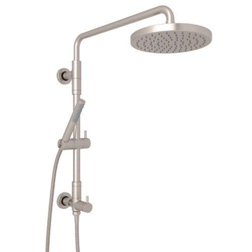 ROHL L0095KIT1STN Retro-Fit Shower Column Riser with Diverter/Handshower/Hose/Showerhead Set, Satin Nickel