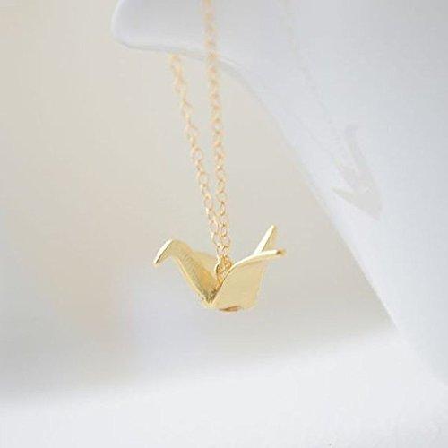 Origami Crane Necklace - Gold Crane, Origami Necklace, Dainty Necklace, Everyday Necklace, Feminine Necklace, Minimalist Pendant , Gift Necklace - Minimalist Everyday Necklace