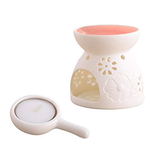 Essential Oil Burner Ceramic Scented Candle Wax melt Warmer Light Holder Aromatherapy Aroma Diffuser Tarts Fragrance for Spa Yoga Meditation Living Room Bedroom Bathroom Holiday Home Decoration, Pink