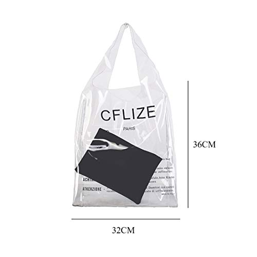bag new shopping portable Black white ladies SODIAL shoulder bag letter PU clutch beach two transparent piece 2018 PVC fashion qwx1XvB