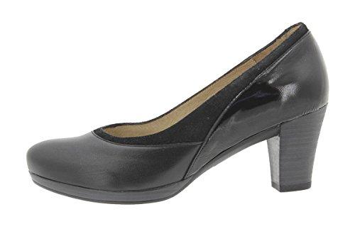 9311 Speciale Pelle Donna Larghezza Tacco Piesanto Scarpe Comfort Negro Con 8qIUnUS4v