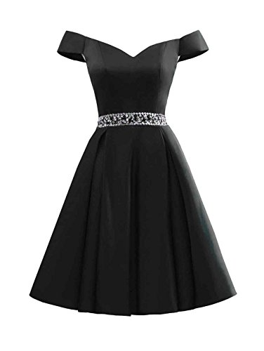 Beaded Short Dress Little Black Dress (Changuan Women's Short Beaded Prom Dresses Off The Shoulder Backless Homecoming Dress Black-12)