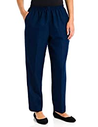Alfred Dunner Petites' Pull-on Flat-front Pants Navy 6P Short