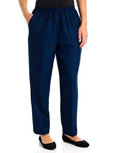 Alfred Dunner Classics Petite Elastic Waist Pants Navy 18P M