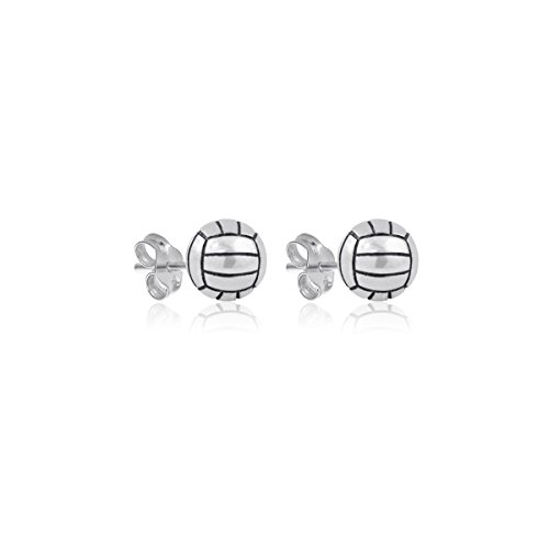 Dayna Designs Sterling Silver Volleyball Jewelry Collection - Earrings and Necklaces - Sports Jewelry (Volleyball Stud Earrings) - Sterling Silver Volleyball
