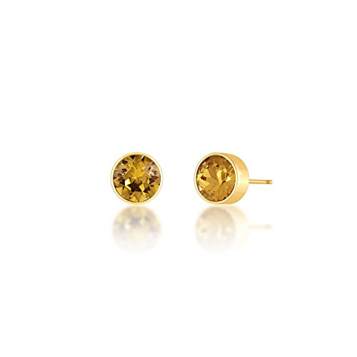 Alice Round Mini Stud Earrings with Light Colorado Topaz Crystals from Swarovski 18k Gold Plated - Light Colorado Topaz Gold Plated