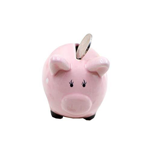 Amosfun Pig Piggy Bank Ceramic Money Storage Box Coin Saving Bank Lucky 2019 Chinese New Year Piggy Doll for Kids Children Gift (Pink)