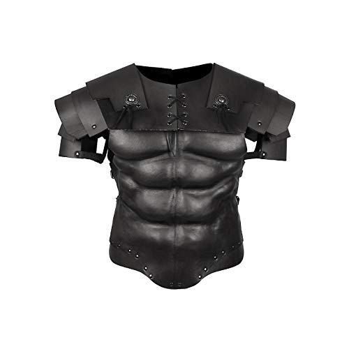 Andracor - Roman Gladiator Armor Set - Black Muscle Armor with Genuine Leather Segment Shoulders for Legionnaires, Antiquity, Sparta & LARP - US 36 (S/M) -