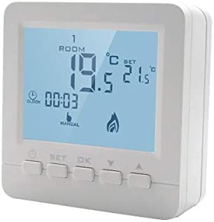 LEDLUX LL0250 Digital Thermostat with Programmable Keys for Wall Mounted Gas Boiler Powered with 2 AA Batteries
