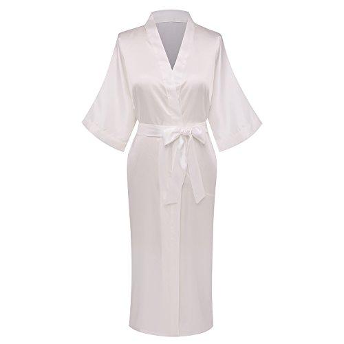 (Goodmansam Women's Simplicity Style Nightwear Elegant Kimono Robes, Long,Large,Pure White3 )