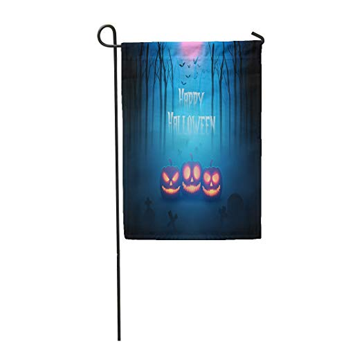 Tarolo Decoration Flag Escape Pumpkin in Forest of Death Silhouettes for Halloween Ghost Monster Tree Thick Fabric Double Sided Home Garden Flag 12