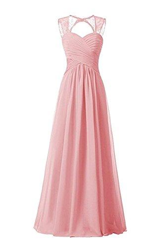 Damen Chiffon Lang Cocktail Line Bainjinbai Ballkleider Pink Abendkleider A Brautjungfernkleider dqPIAwU