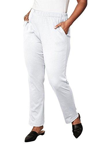 Roamans Women's Plus Size Petite Soft Knit Straight-Leg Pants - White, -