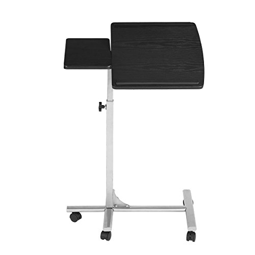 Portable Laptop Desk | Lightweight Folding Breakfast in Bed TV Dinner Tray | Over Bed Side Hospital Table | Tilt Adjustable Surface with Book/e-Device Edge Stopper (Standing +wheels, Black (Drafting Table Surface)