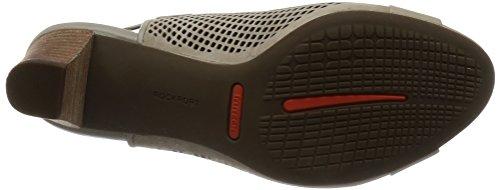 Rockport Womens/Ladies Audrina Peep Toe Slip on Leather Shoes Khaki