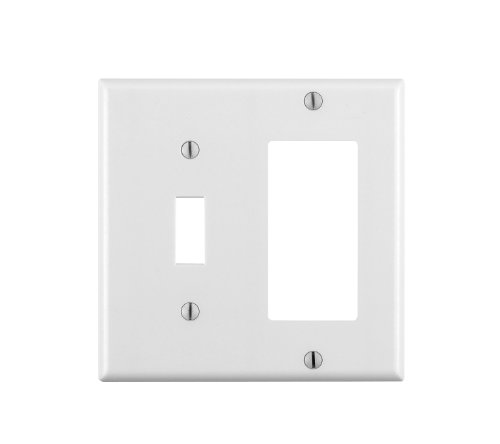 Leviton 80405-W 2-Gang 1-Toggle 1-Decora/GFCI Device Combination Wallplate, Standard Size, Thermoset, Device Mount, White (Gang Toggle Plastic Wall Plate)
