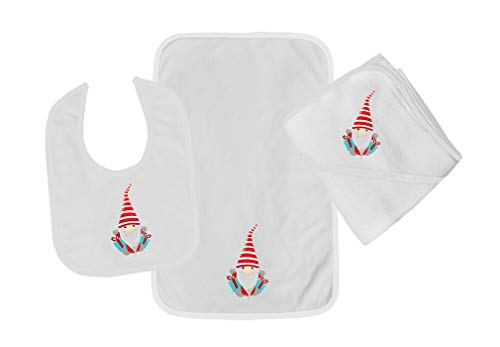 Christmas Gnome Two Gifts Cotton Boys-Girls Baby Bib-Burb-Towel Set - White, One Size ()