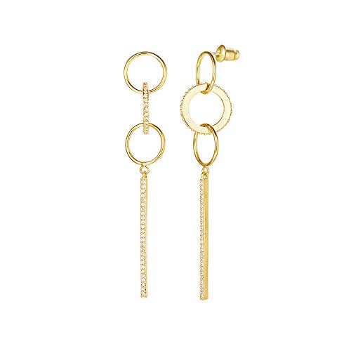 (FANCIME 14K Yellow Gold Plated Cubic Zirconia CZ Statement Geometric Circle Long Chain Tassel Bar Dangle Drop Earrings Fashion Jewelry for Women Girls Party Gift, Length: 2.7