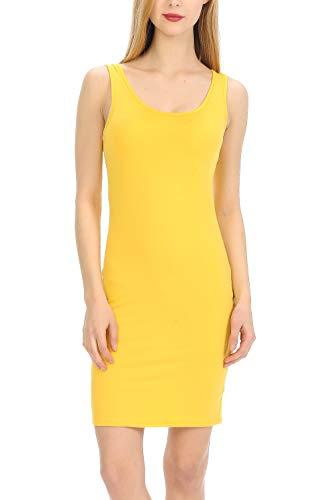 MINEFREE Women's Scoop Neck Slim Fit Stretchy Bodycon Tank Mini Dress Yellow L