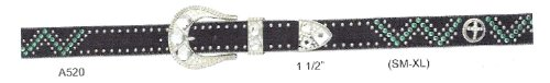 Ladies Western Belt with Crystals Cross Conchos Black Leather (SM 28-30) (Crystal Concho Belt)