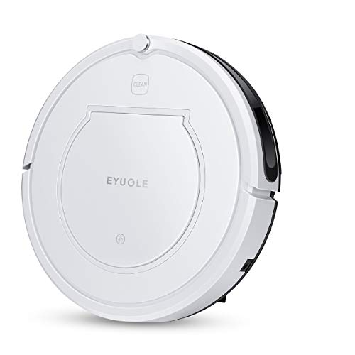 EYUGLE Vacuum Robot w/Auto Charge Dock, Robotic Vacuum for Pet Hair Care, w/Powerful Suction, Tangle-Free, Slim Design Works on Hard Floor and Thin Carpet