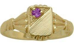 - 14 Karat Yellow Gold Genuine Amethyst Rectangular Gemstone Baby Ring - SIZE 4