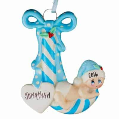 Baby Boy Candy Cane Personalized Ornament - (Unique Christmas Tree Ornament - Classic Decor for A Holiday Party - Custom Decorations for Family Kids Baby Military Sports Or Pets) ()